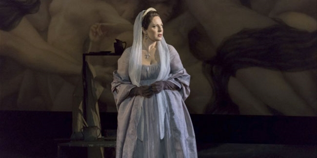 Long violet suede gloves custom made for Tosca soloist Martina Serafin.
