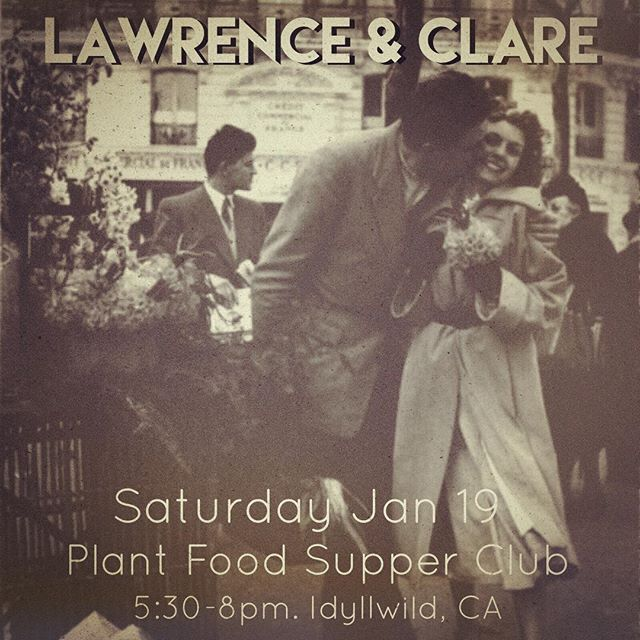 We are performing our last Californian show for a month this coming Saturday at @plantfoodsupperclub • We would love for you to join us! . . . . . #LawrenceandClare #Americana #folk #musicalduo #indieband #folkduo #idyllwildmusic #plantfoodsupperclub