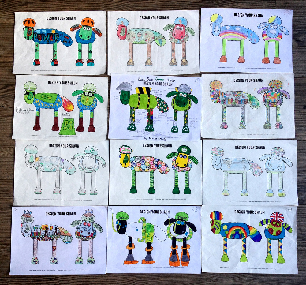 The 12 selected designs, 1 from each class (age range 7-11 years)