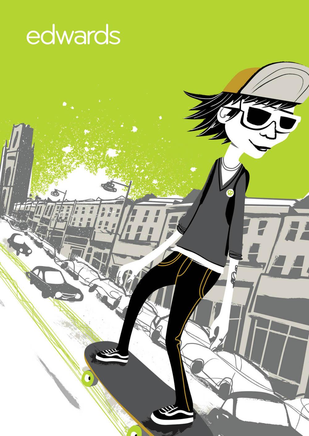 Love Bristol - Park Street Skateboarder