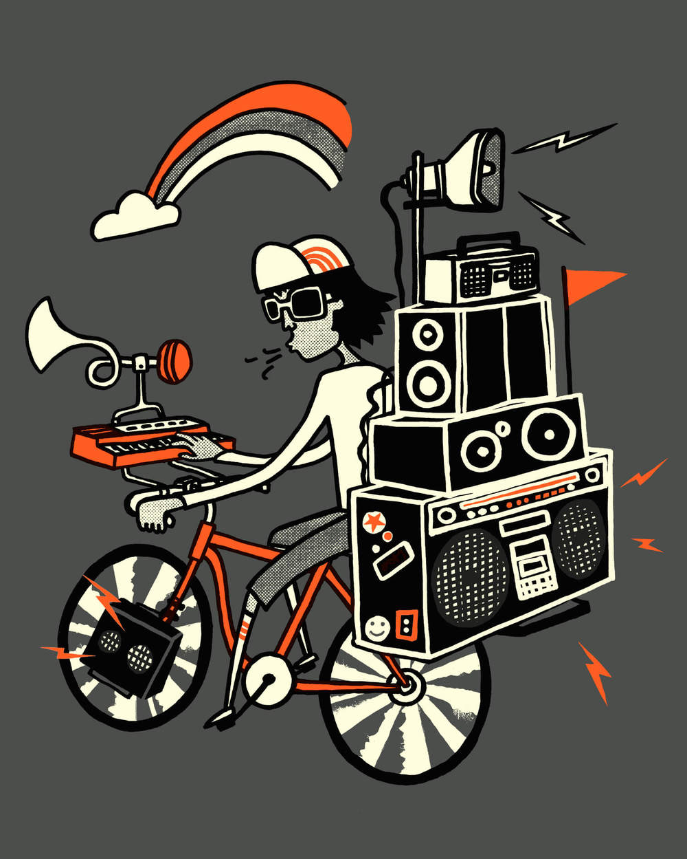 Boom Box Bike Illustration for Mild West Heroes