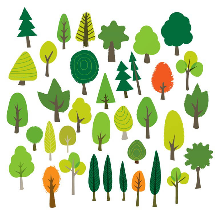 Some tree elements created for a client illustration piece. I quite liked them laid out like this.