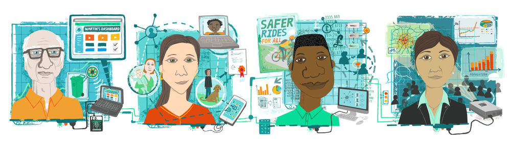 The four individual illustrations were combined to create a banner image for use on the Nesta homepage