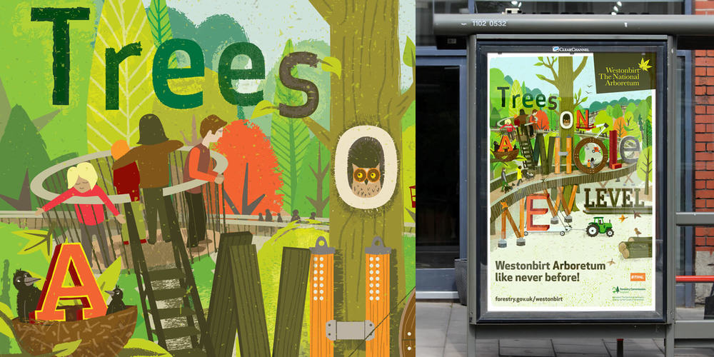 WESTONBIRT ARBORETUM   Campaign Illustration to publicise the opening of the new STIHL Treetop Walkway