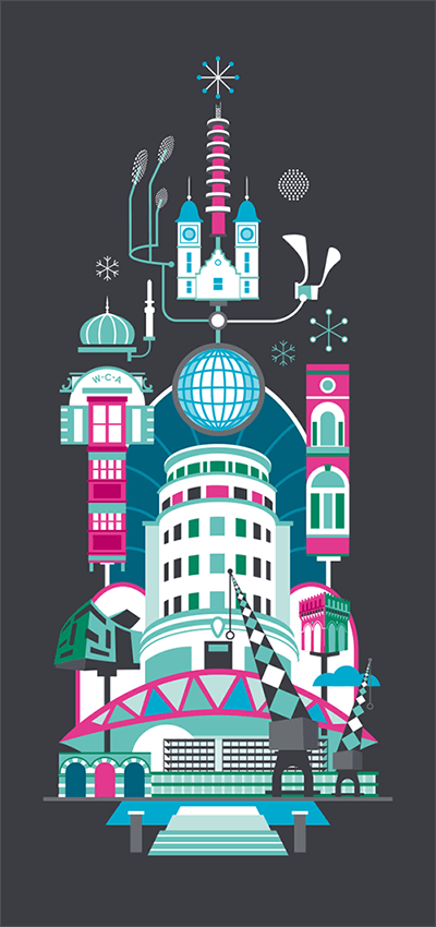 Planning Ventures_Bristol Buildings Christmas Illustration