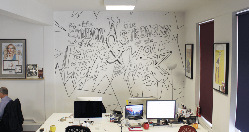 Mock-up of the sketch on studio wall