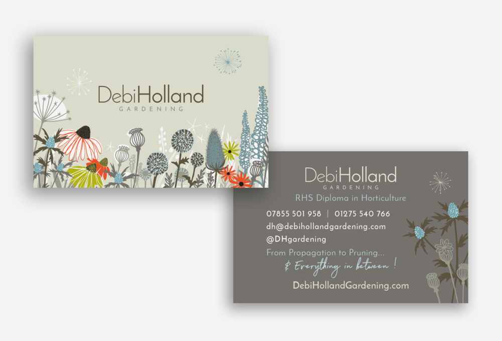 Fantastic gardening business cards ideas business card ideas templates professional business cards uk plus professional debi holland gardening carys ink freelance illustrator graphic reheart Gallery