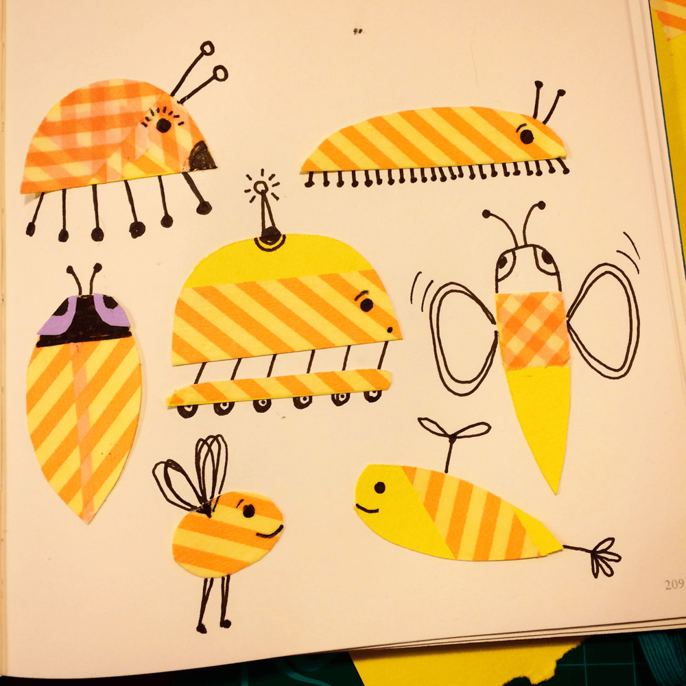 Washi tape and paper doodlebugs