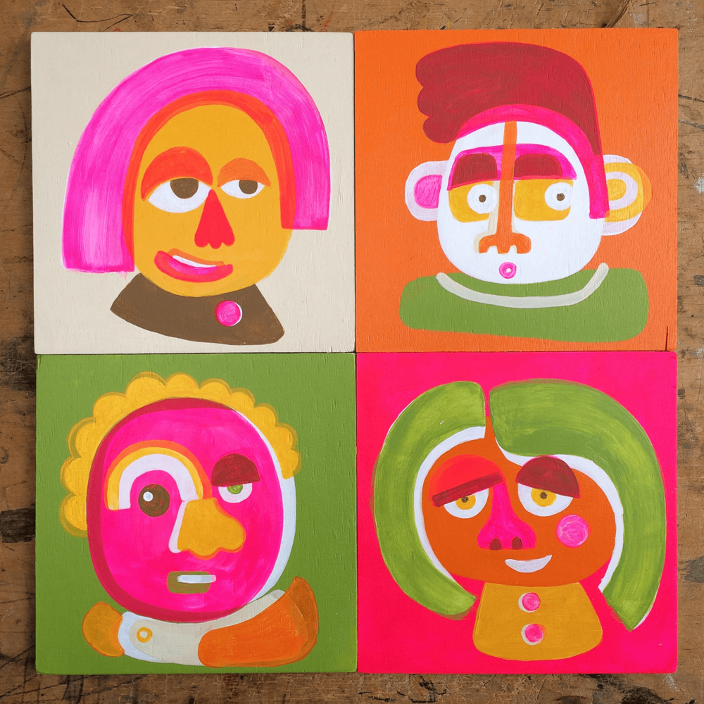 Painty character play. Experimenting with paint and shapes, 15cm x 15cm, acrylic paint on plywood