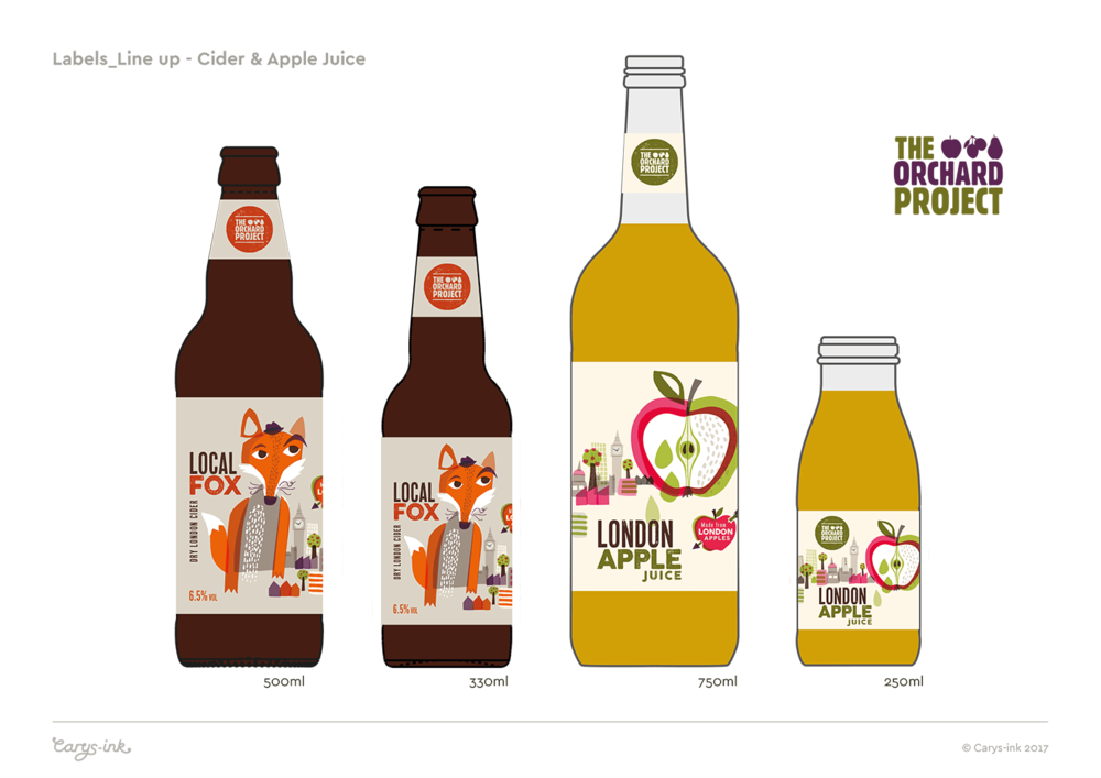 Visual showing the label designs applied to the various shape bottles. With the exception of the small apple juice, the circular Orchard Project mark appears on the bottle neck label to give a consistent prominence for the Orchard Project brand, across the product range.
