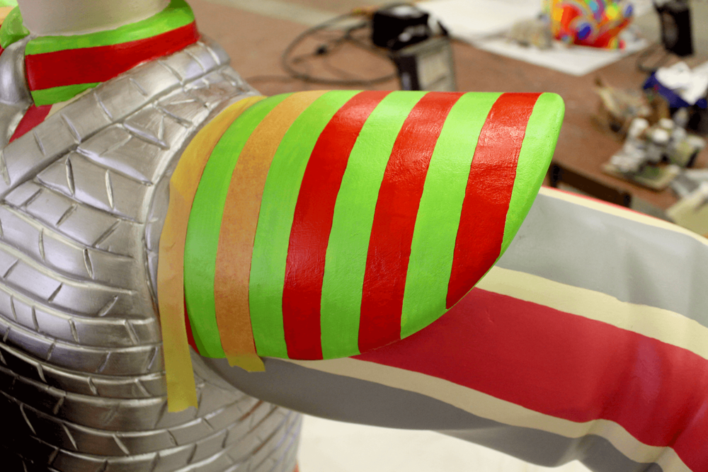 Shoulder stripes - mask-paint-paint-mask. Handily worked out to be the width of the masking tape.