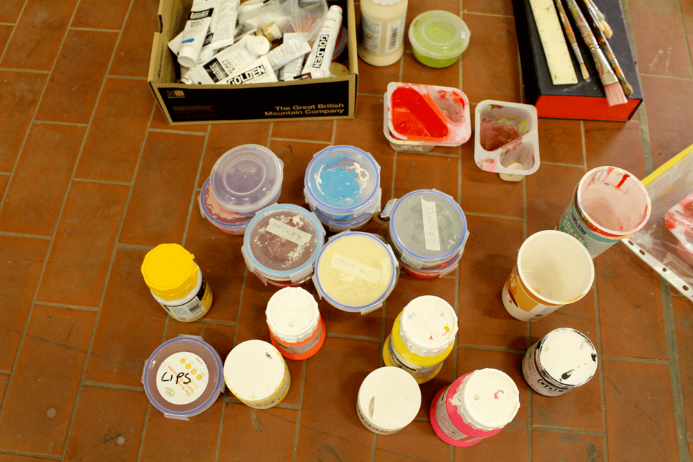 Selection of paints used, being tidied up at the end