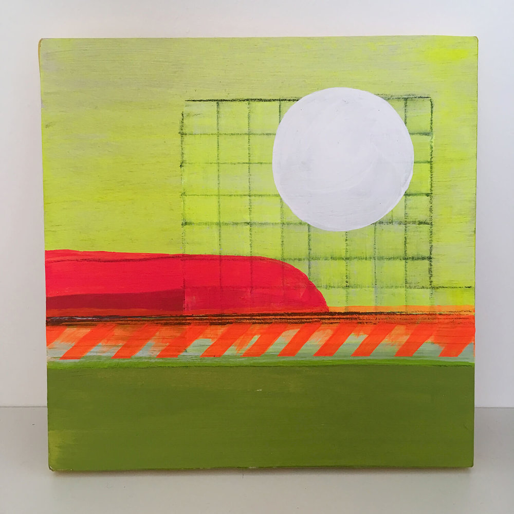 This was an experiment. A Colour/shape/painty landscape thing. Acrylic and graphite on plywood, 15cm x 15cm. Fun to do, I'd quite like to find time to do more of this kind of thing.