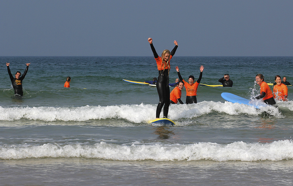 Surf lesson at Fistral beach, newquay