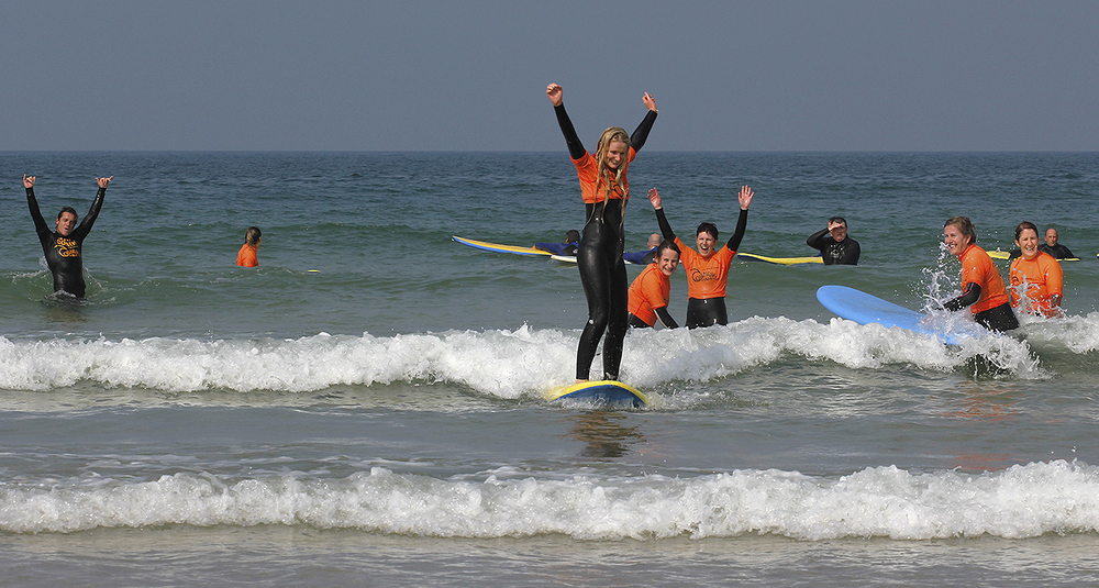 Some Hens enjoying a surf leson at Fistral Beach,Newquay