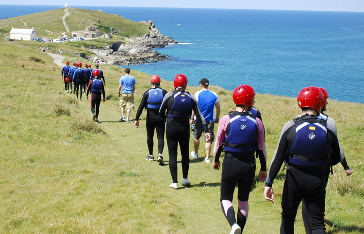 Starting a Coasteering Session on the Newquay Headland -