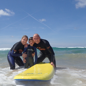 Watergate Bay is perfect for family surf lessons