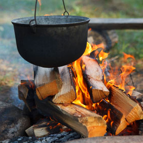 Outdoor cooking on a Wild Camping Stag Weekend