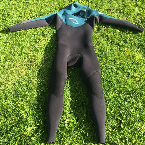 A full-length wetsuit used for coasteering
