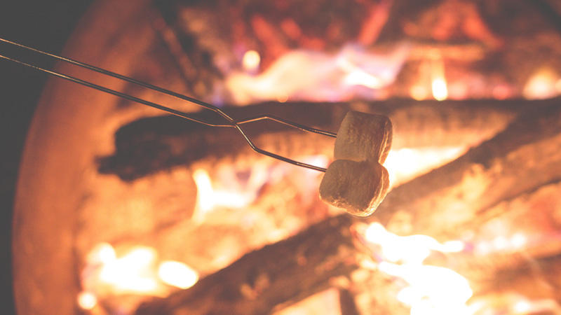 Cooking marshmallows over an open fire