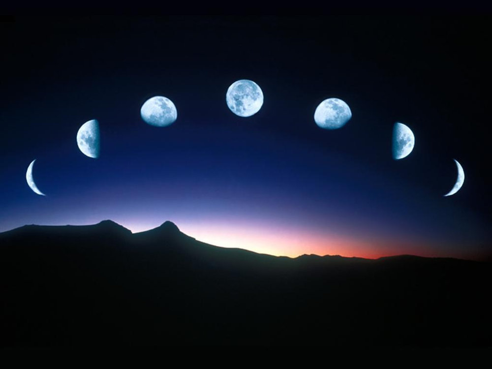 time lapse showing phases of the moon
