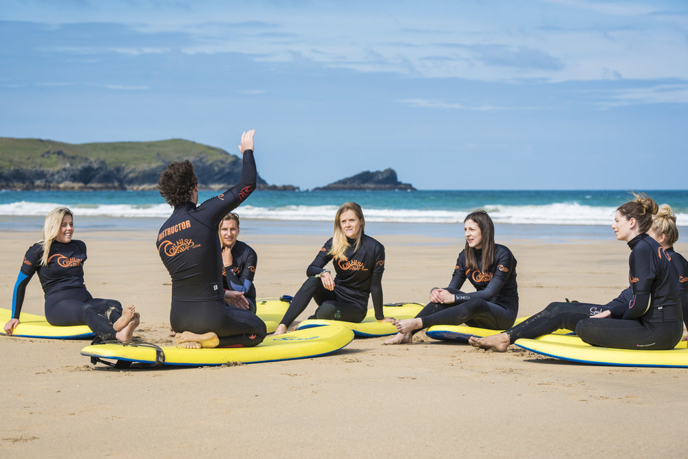 hen party surf lesson, beach surf safety breif fistral beach, newquay