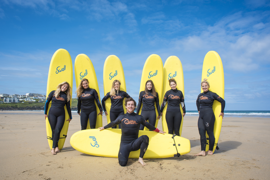 hen party surfing in Newquay