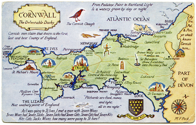 vintage postcard map of cornwall