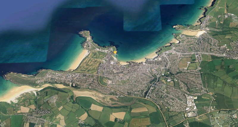 Newquay from above - google maps