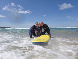 family surf lesson fistral beach newquay