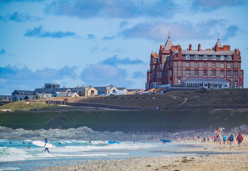 iconic headland hotel, fistral beach, newquay. Surfing mage source: Lisa Malone