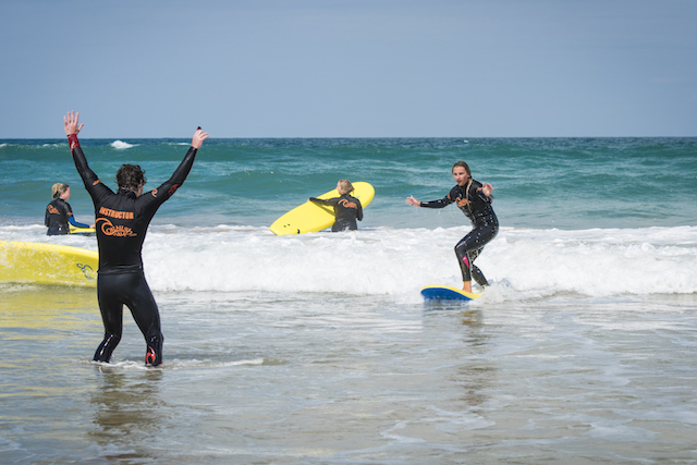 A Group surf Lesson in Newquay