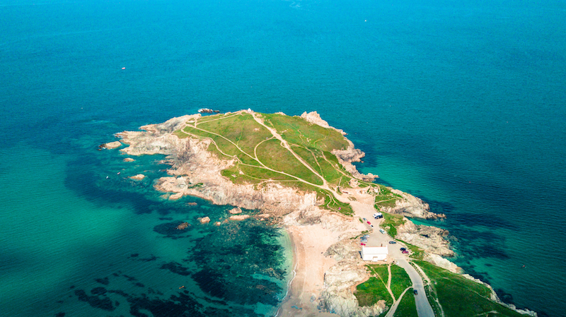 Towan Headland in Newquay from above