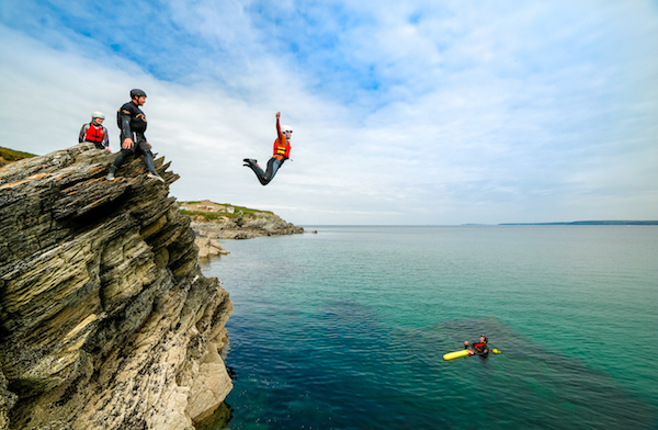 Push yourself to the edge as you take on a deep water coasteering jump in newquay