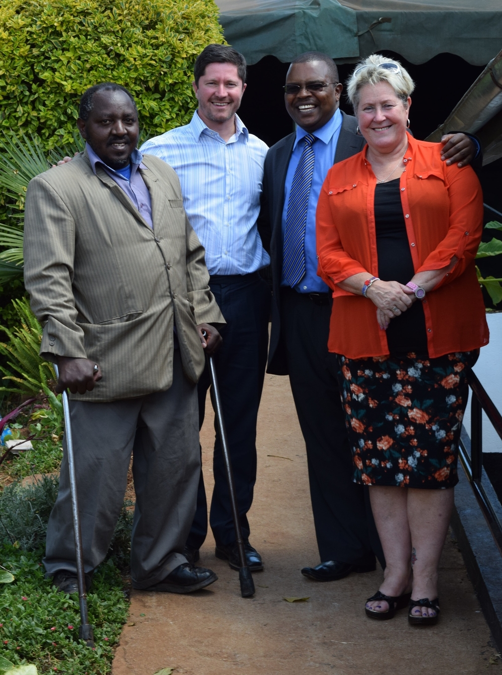 Pastor David Murray and Mrs Terry Fairfowl meet with the Hon. David Mwangi Mugo (centre right), and with the Hon. Joseph King'ori, the Nyeri County Representative for Persons with Disability, for a tour of the facilities at the Sanctuary.