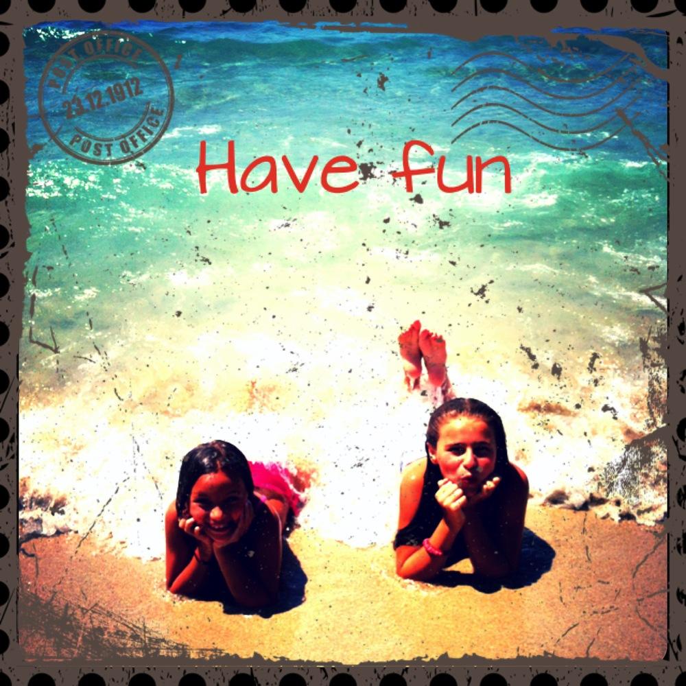 Girls having fun at Okan's beach.