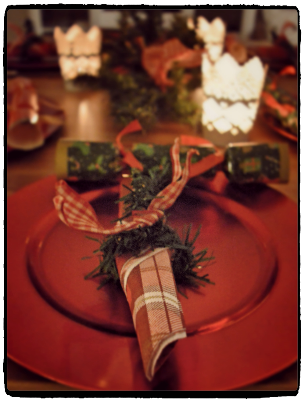Simple napkin holders made by us pine stems and ribbons