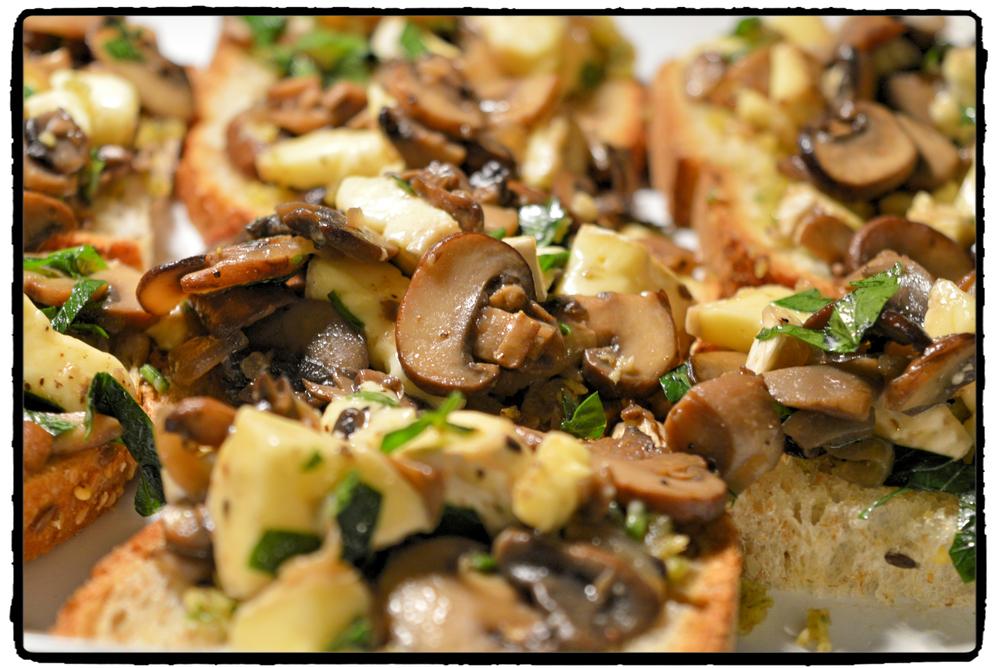Mushroom - Brie on toasted bread..