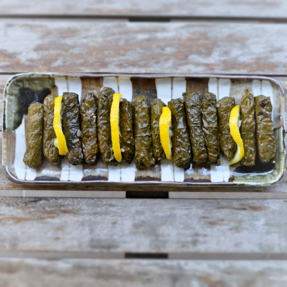 Vine leaves stuffed with rice & pine nuts  Vegan / contains nuts / gluten free