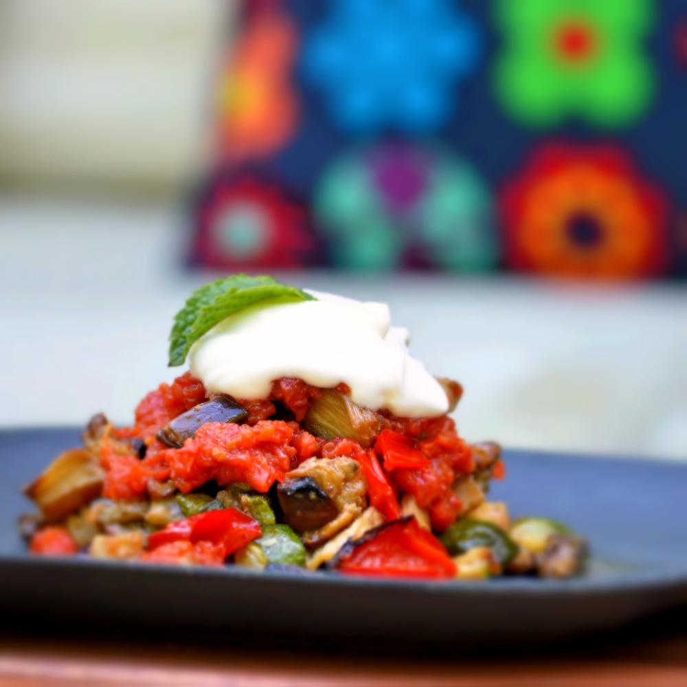 Roasted vegetables medley: Paprika,zucchini, eggplant , tomato and garlic yogurt sauce  Vegetarian / gluten free