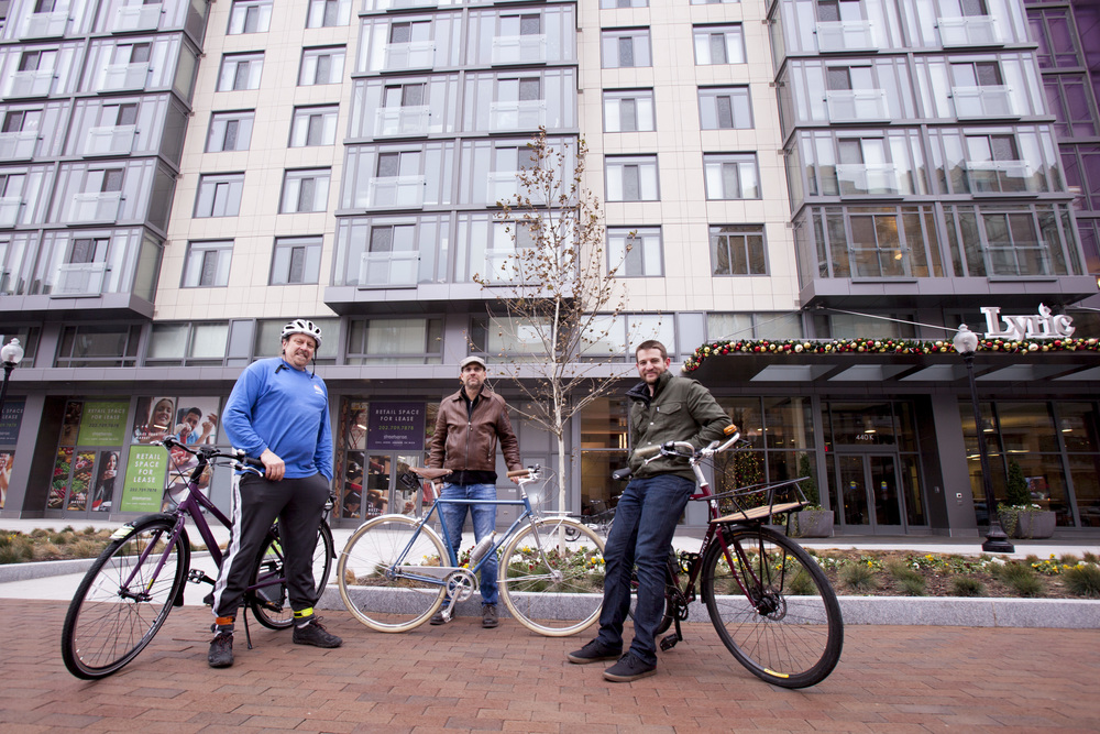 Co-owner Phil Koopman (left), co-owner Erik Kugler and General Manager David Dorn outside the soon-to-be BicycleSPACE shop at 440 K St NW.