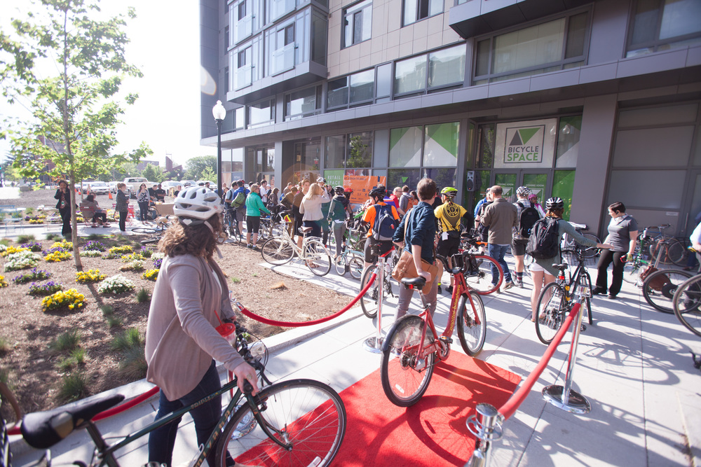 BicycleSPACE hosts Bike To Work Day 2015 Mt. Vernon Triangle Pit Stop outside 440 K Street.