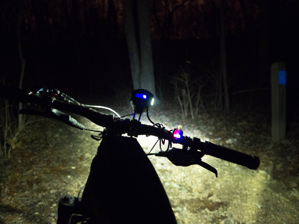 Scott's headlight, a Busch and Muller Luxos U, on the trails back home in Missouri.
