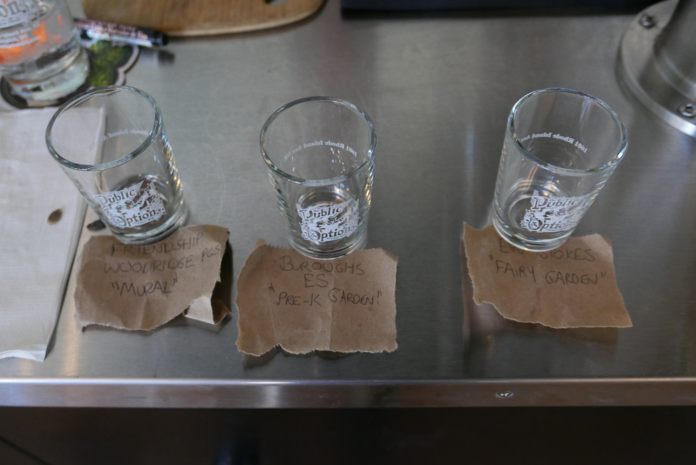 Our ballot box: seeds in shot glasses