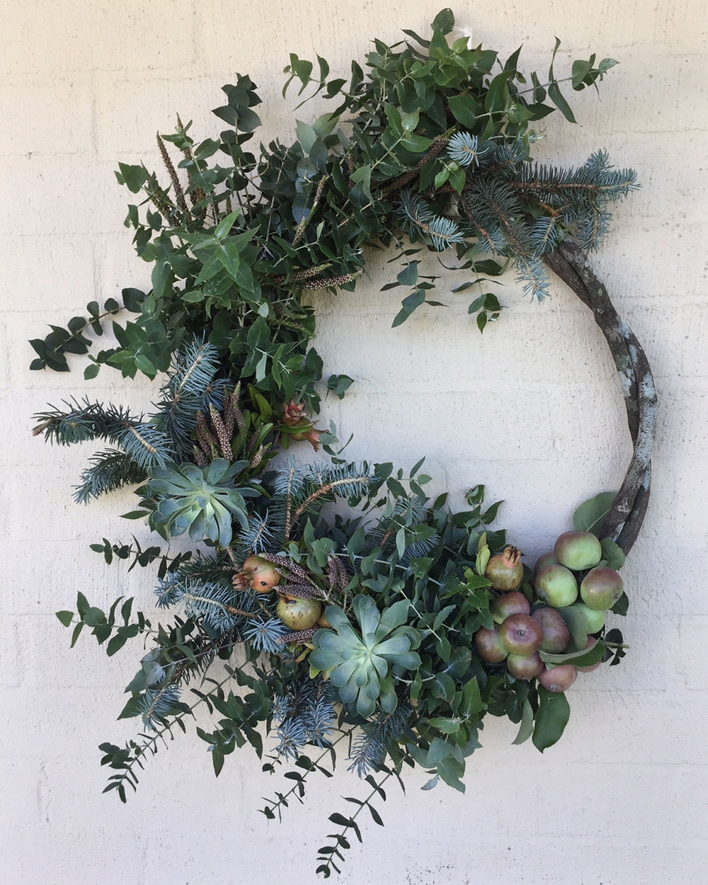 Succulent & Miniature Apple Wreath from $120