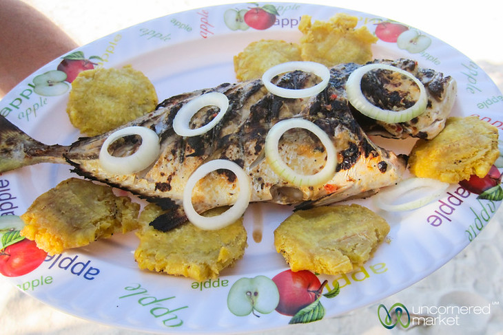 Grilled fish straight from the fishermen at Pointe Sable.