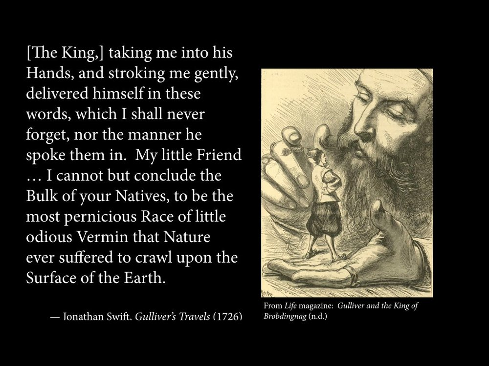 """[The King,] taking me into his Hands, and stroking me gently, delivered himself in these words, which I shall never forget, nor the manner he spoke them in. My little Friend … I cannot but conclude the Bulk of your Natives, to be the most pernicious Race of little odious Vermin that Nature ever suffered to crawl upon the Surface of the Earth."""