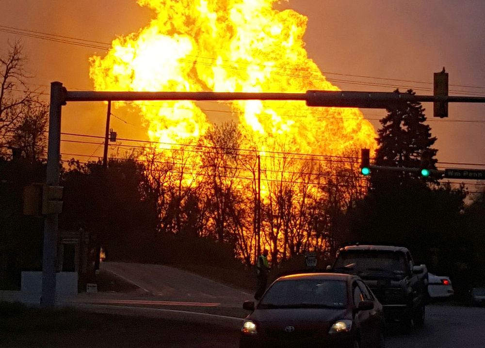 A natural gas explosion at a pipeline complex near Greensburg, PA, on April 29, 2016. Photographer: Salem Township Supervisor Kerry Jobe via AP Photo