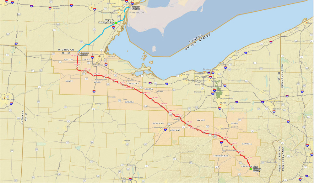 Utopia Pipeline Route via the Utopia East Overview Site:http://utopiapipeline.com/overview/