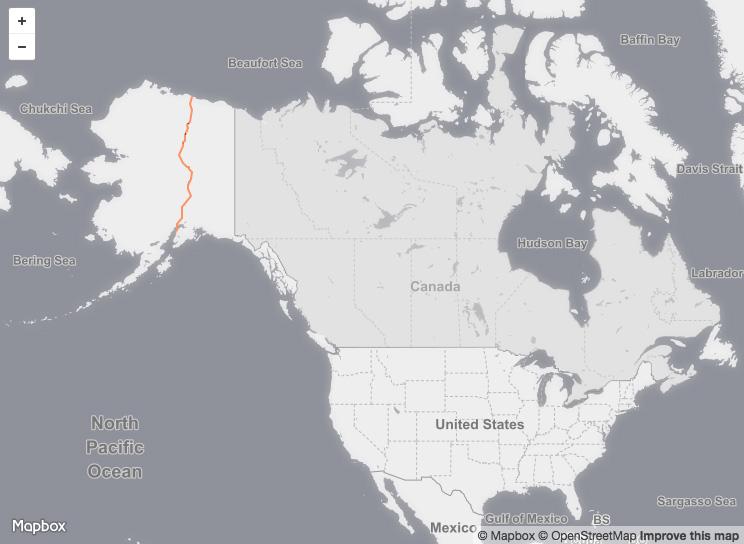 Proposed pipeline route ( AlaskaLNG ) via Mapbox